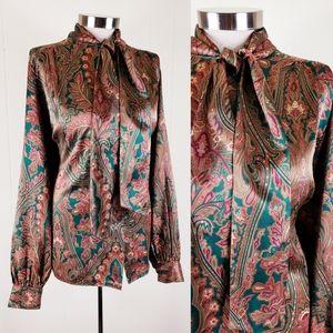 Vintage plus size satin paisley pussbow blouse